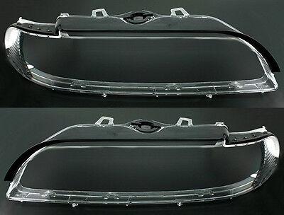 Headlight cover lenses lens SET for BMW 5 Series E39 9/00-6/03 Halogen Lens