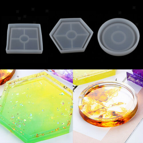4x Square Coaster Cup Mat Mold Silicone Mould DIY Soap Epoxy Resin Casting