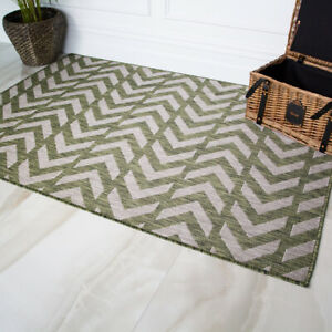 Details About Dark Green Zigzag Rugs Geometric Washable Indoor Outdoor Use Thin Flatweave Rug