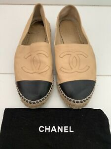 CHANEL-Tan-And-Black-Leather-Cap-Toe-Espadrille-Flats-40-9