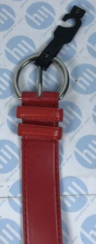 """Ladies Leather Belt Red Colour Round Buckle35mm X 93cm Long S Fits 29""""To 33"""""""