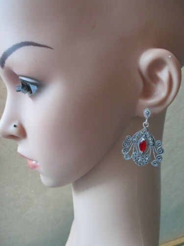 Details about  /Gorgeous sterling silver Earrings with synthetic Ruby 925 silver marcasite