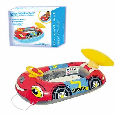 Canotto Gonfiabile A Forma Di Automobile Con Volante Clacson E Alettone Cm102x62