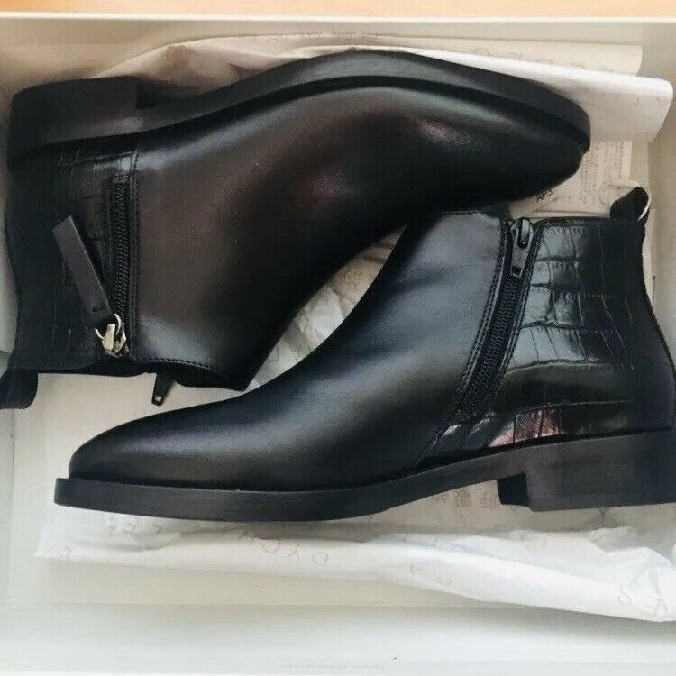 Geox Black Croc Leather Low Flat Heel Ankle Boots Side Zip Size UK 5