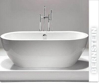 Freistehende Badewanne JAZZ ACRYL weiß 173x78 inkl. Ab/Überlauf BS-827