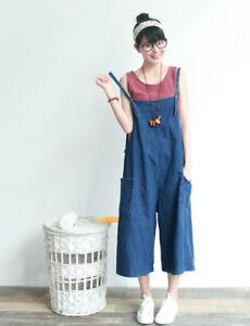 d43e31622441 Vintage Women s Cropped Wide Leg Pants Loose Jeans Jumpsuit Denim ...