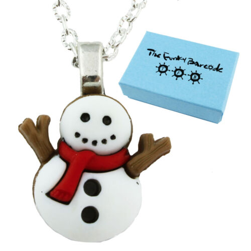 SNOWMAN SCARF NECKLACE Funky Kitsch Christmas Snow Winter Cool Retro Fun TFB