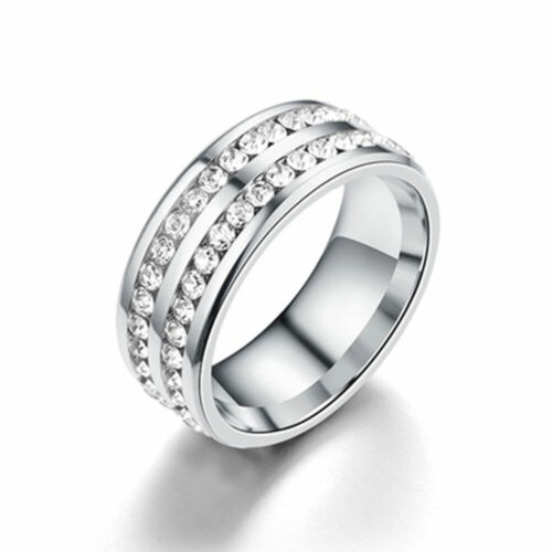0134 D554 Double Layer Rhinestone Titanium Steel Finger Rings Fashion Men/'s Gift