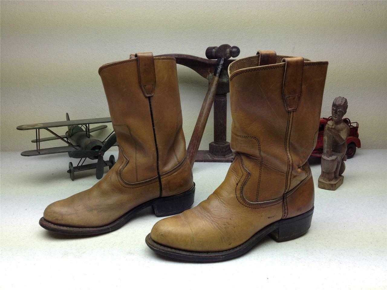 VINTAGE USA AMBER LEATHER OIL RESISTANT WESTERN ENGINEER BOOTS SIZE 7.5-8 D