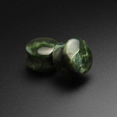 Stone Ear Gauges Plugs Moss Agate Double Flare Convex Stone Plug