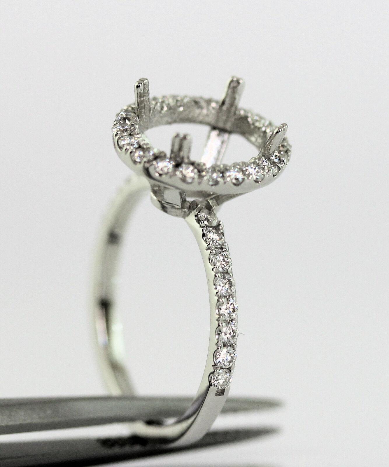 10x8 Oval 0.50 Carat Diamond Semi Mount Engagmant Ring in 14k White gold