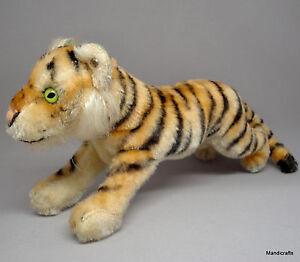 Steiff Tiger Cub Running Mohair Plush 17cm 7in ID Button 1960s Vintage