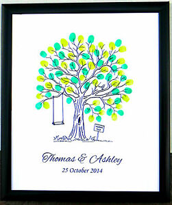 Personalised-Fingerprint-Tree-Guest-Book-Wedding-B-day-Christening-Baby-Shower-6