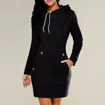 UK 8-24 ZANZEA Women Pockets Hooded Sweatshirt Tops Jumper Pullover Dress Plus