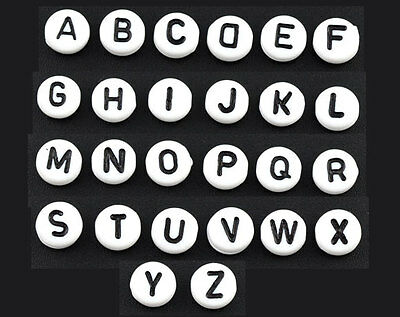 """TOP 520 Mixed Acrylic Alphabet """"A-Z"""" Round Spacer Beads 7mm"""