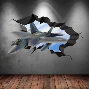 FULL COLOUR FIGHTER JET ARMY PORTHOLE WALL STICKER BEDROOM DECAL MURAL WSD583