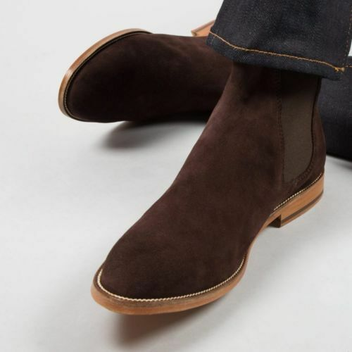MENS HANDMADE BROWN BOOT SUEDE LEATHER CHELSEA CUSTOM MADE HUNTER Schuhe FOR MENS