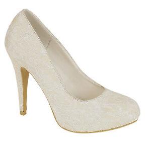 70229904216 WOMENS LADIES IVORY SATIN   LACE HIDDEN PLATFORM WEDDING SHOES SIZE ...