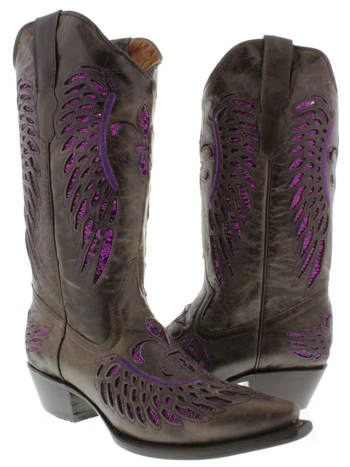 Women's Brown Flower Inlay Purple Sequins Dress Leather Cowboy Cowboy Cowboy Boots Snip Toe f45665