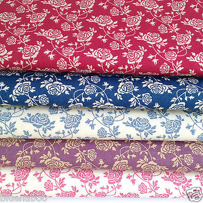 per 1/2 Mtr / fat quarter TRAILING ROSE  100% cotton fabric dressmaking craft *