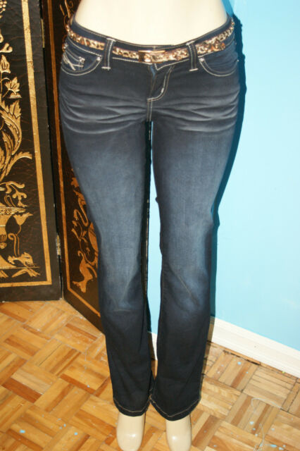 e3af1814cd Suko Jeans Women s Distressed Denim dark blue Stretch Jeans with belt size 4
