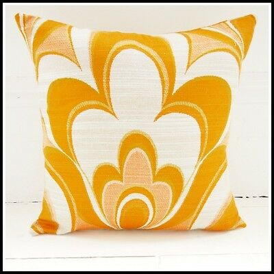 Vintage 60s 70s cushion cover psychedelic fabric orange funky retro Heals-era