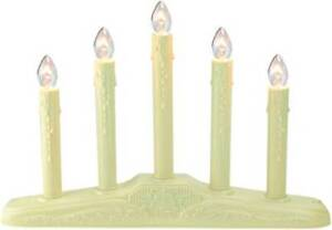 5 Light Ivory Christmas Candolier On Holly Berry And Bell Base Candle Lamp 14 5 Ebay