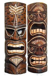 Tiki-Mascaras-50cm-Con-Motivos-2-piezas-HAWAI-de-madera-Mascara-Pared