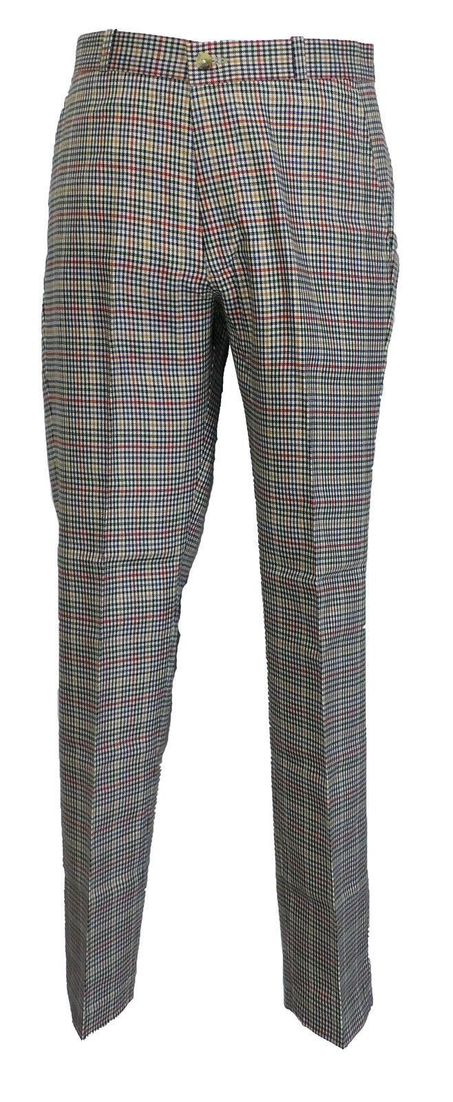 Biege Tweed 60S 70S Retro Mod Vintage Sta Press Trousers