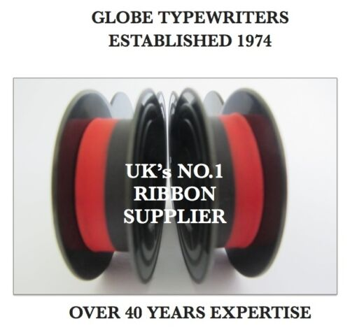 2 x /'OLYMPIA MONICA/' *BLACK//RED* TOP QUALITY *10M* TYPEWRITER RIBBONS TWIN SPOOL
