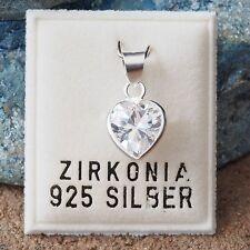 Nuevo 925 plata colgante corazón con circonita piedra claro/cristalino cadenas remolque