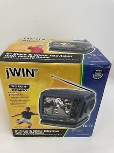 "jWIN JV-TV1010 5"" Analog Black/White TV AM/FM Radio Combo Portable Convenient"