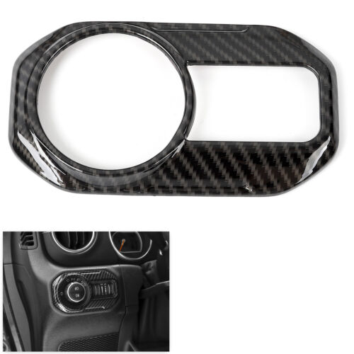Carbon Fiber Headlight Switch Head Lamp Cover trim For 2018 Jeep Wrangler JL-NEW