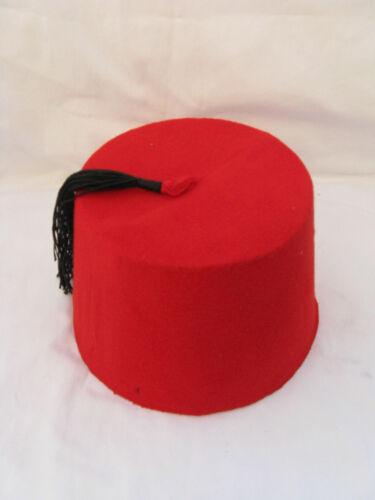 "Egyptian Turkish Red Fez Tarboush Hat Black Tassel 22.5/"" Great Quality"