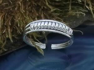 Zehenring-Fussring-925-Echt-Silber-Spirale-Zehring-glaenzend-einstellbar