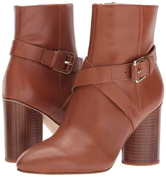 Nine West Cavanagh Ankle Bootie Dark Natural Leather Tan Brown Boots Size 8.5 M