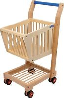 Wooden Shopping Trolley Toy Pretend Play Shopping Supermarket Shop Role Play