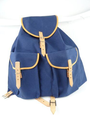 Sac à dos grand XL Bleu foncé Lin Tissu avec Nature Cuir Rétro stable Qualité
