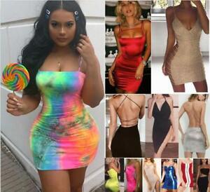 Damen Sexy Abendkleid Kurz Kleid Glitzer Dress Mini Ruckenfrei Party Clubwear Ebay