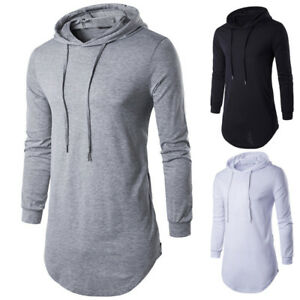 Mens Longline Curved Hem T-shirt Top Hoodies Hooded Long Body Tee Tall Elongated