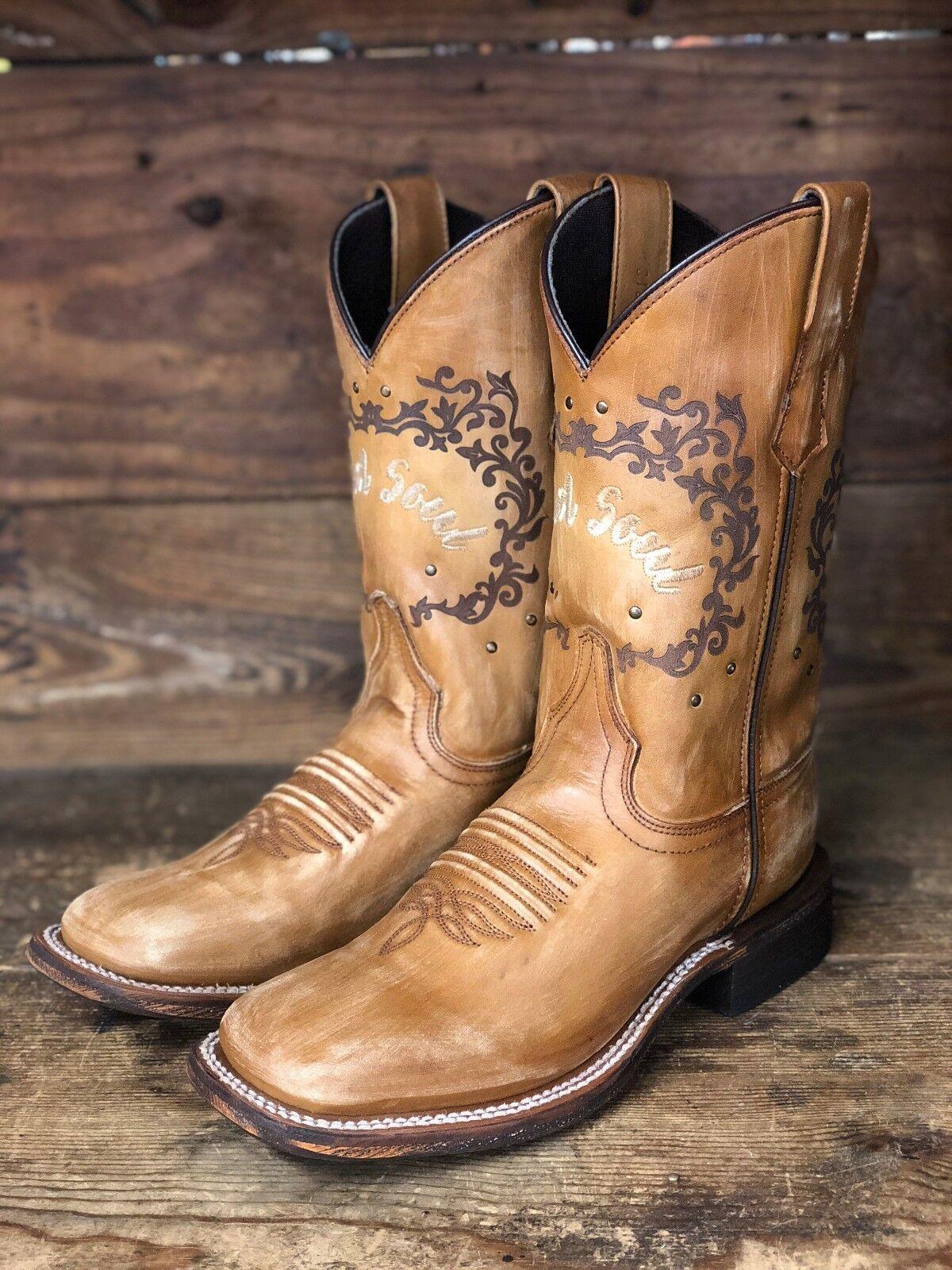 Laredo Women's Fierce Tan Wild Soul Square Toe Western Boots 3132