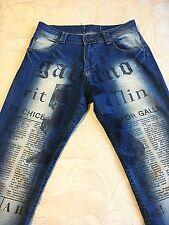 280 € Auténtico John Galliano Diseñador Jeans para Mujer papel prensa Talla 27