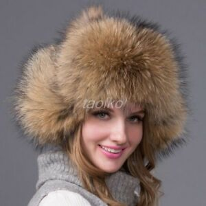 100% Real fox fur handmade Ladies Women Ushanka hats Russian Ski ... 0e443587ca6
