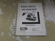Asv Hd4500 Hd4520 Posi Track Loader Skid Steer Factory Parts Catalog Manual