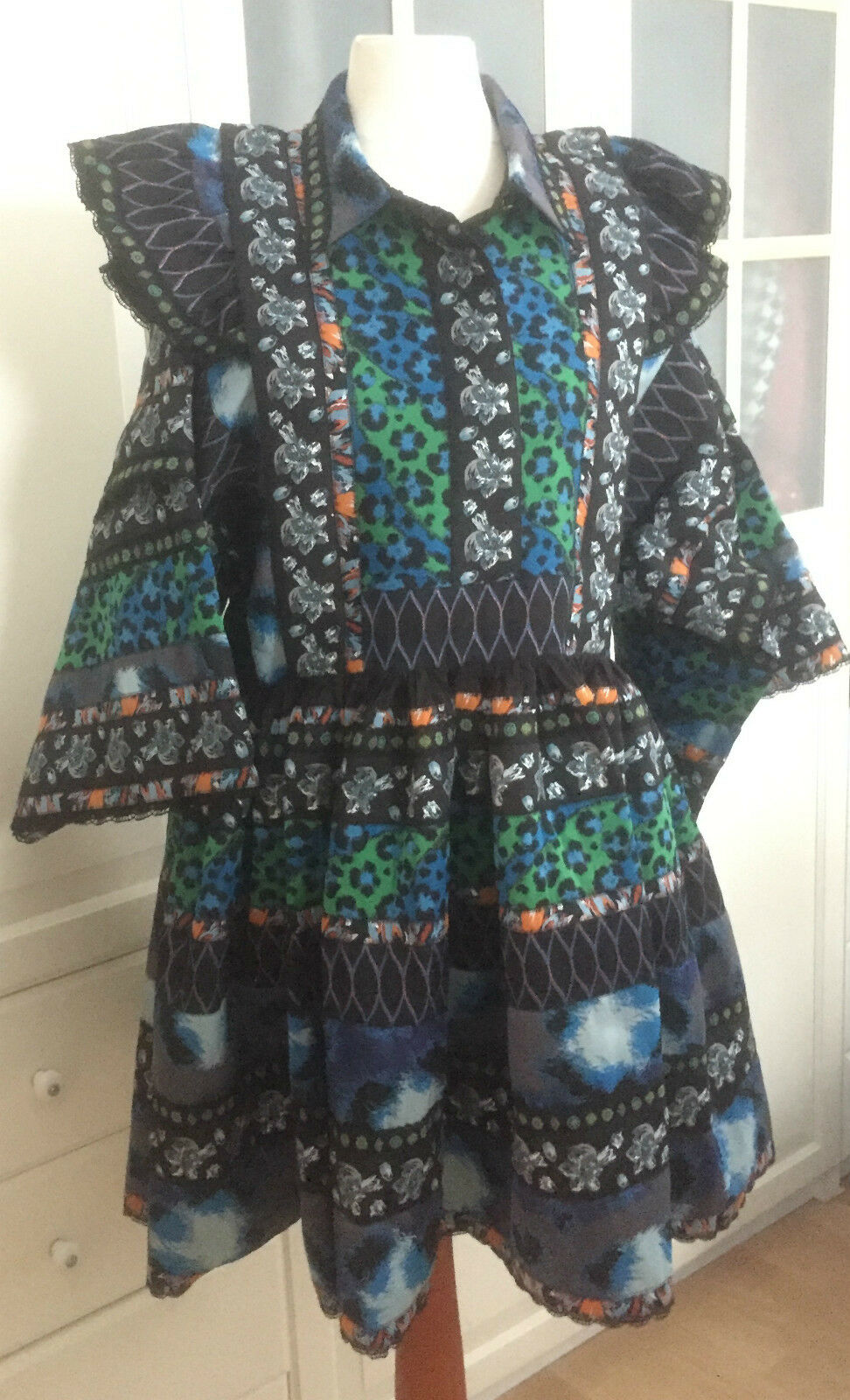 Original KENZO X H&M Kleid Folklorekleid patterned dress Größe XS Größe XS