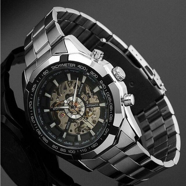 Herren Uhr Skeleton Armbanduhr Edelstahl Self-Wind Up Mechanical Automatic Watch