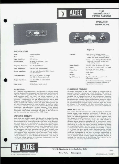Altec 128B Themeguard Power Amplifier Amp Original Factory Owner's Manual