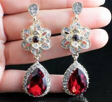 FLOWER AUSTRIAN RUBY RED CRYSTAL RHINESTONE CHANDELIER DANGLE EARRINGS WED E2100