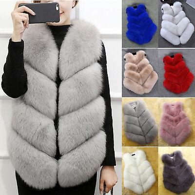 Damen Warme Faux Fur Kunstpelz Ärmellose Weste Mantel Jacke Waistcoat Gilet Vest