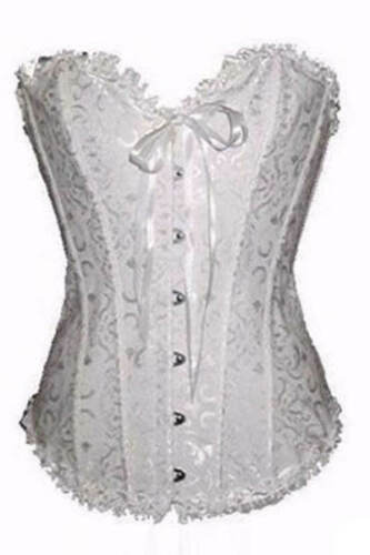Strapless White Bridal Satin Patterned Corset w Lace Up Back